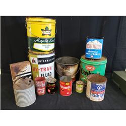 ASSORTED VINTAGE BUCKETS, CANS AND SMALL GAS CAN NO RESERVE