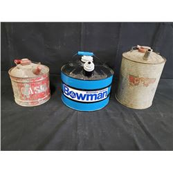 2 ANTIQUE GAS CANS 1 BOWMAN CAN NO RESERVE