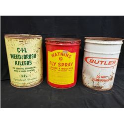 CIL, WATKINS AND BUTLER 5 GALLON CANS NO RESERVE