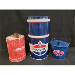 STANDARD BARREL WITH ANTIQUE GAS CAN AND STP OIL BUCKET NO RESERVE