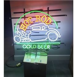 COLLECTIBLE HOT ROD AND COLD BEER NEON SIGN NO RESERVE