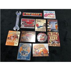 ASSORTED COLLECTIBLE SIGNS 12 SELLING AS ONE LOT NO RESERVE