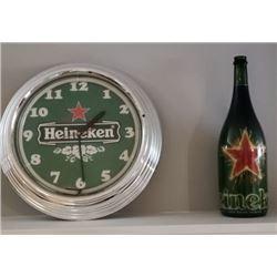 COLLECTIBLE HEINEKEN CLOCK AND BOTTLE