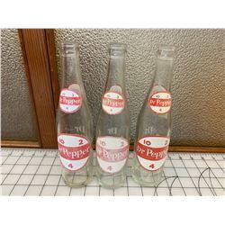 VINTAGE DR.PEPPER SODA POP BOTTLES LOT OF 3