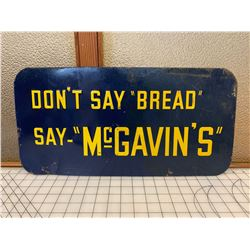 "ORIGINAL VINTAGE MCGAVINS BREAD TIN ADVERTING SIGN 20"" x 10"""