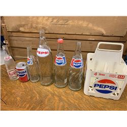 LOT OF VARIOUS PEPSI BOTTLES CAN AND CARRIER