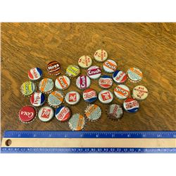 LOT OF VINTAGE CORK LINED SODA POP BOTTLE CAPS MOUNTAIN DEW ORANGE CRUSH ETC
