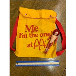 VINTAGE MCDONALDS BACKPACK AND RONALD TOY