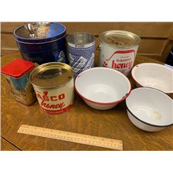 LOT OF ENAMEL BOWLS AND VINTAGE TINS