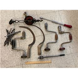 LOT OF ANTIQUE TOOLS DRILLS SICKLES ETC