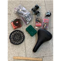 MISC HARWARE LOT CASTER WHEELS BIKE SEAT ETC