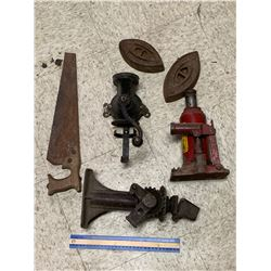 MISC LOT COFFEE GRINDER JACKS SAD IRONS
