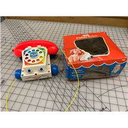 1977 FISHER PRICE CHATTER TELEPHONE PULL TOY WITH BOX