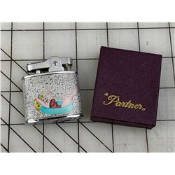 """VINTAGE DOUBLE SIDED PINUP GIRL LIGHTER WITH BOX """"PARTNER"""""""