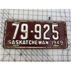 1949 SASKATCHEWAN LICENCE PLATE