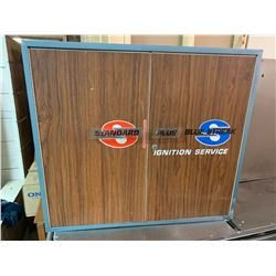 """VINTAGE WALL MOUNT BLUE STREAK IGNITION SERVICE ADVERTISING PARTS CABINET 29"""" x 33"""" x 11"""""""