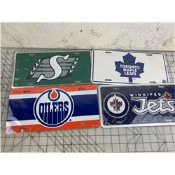 NEW SPORTS LICENCE PLATES JETS OILERS MAPPLE LEAFS ROUGHRIDERS