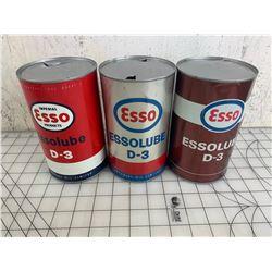 LOT OF 3 DIFFERENT ESSO D-3 QUART OIL CANS