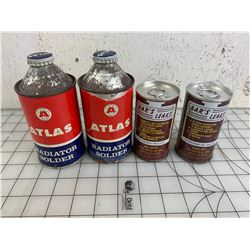 FULL VINTAGE SERVICE STATION RELATED CANS ATLAS AND BARS LEAKS