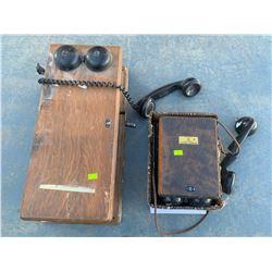 ANTIQUE WOODEN PHONES REPAIR OR PARTS