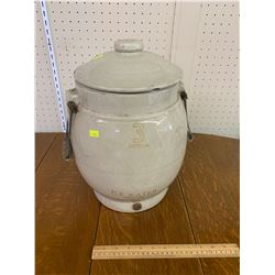 3 GALLON IMPERIAL ICE WATER CROCK WITH LID MEDICE HAT ALBERTA