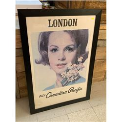 """ORIGINAL CANADIAN PACIFIC AIR POSTER PROFESSIONALLY FRAMED 39 1/2"""" x 27 1/4"""""""