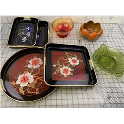 VINTAGE GLASS AND SERVING TRAYS