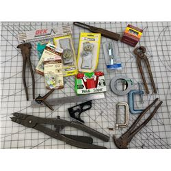 MISC OLD TOOLS AND HARDWARE LOT