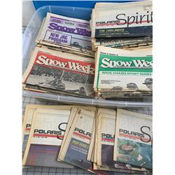 TOTE OF VINTAGE 1980s 90s SNOW WEEK ANS POLARIS SPIRIT NEWS PAPERS