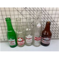 5 DIFFERENT STUBBY BEVERAGES POP BOTTLES
