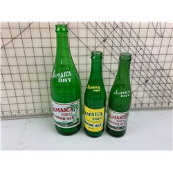 3 DIFFERENT JAMAICA DRY GINGER ALE BOTTLES