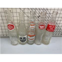 LOT OF 5 SODA POP BOTTLES RC MISSION DOUBLE COLA AND MORE