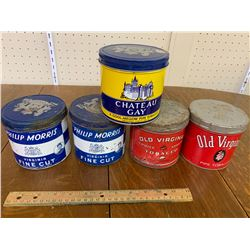 LOT OF TOBACCO TINS PHILIP MORRIS OLD VIRGINIA CHATEAU GAY