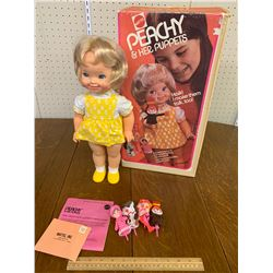 1973 VINTAGE MATTEL PEACHY DOLL AND HER PUPPETS WITH BOX