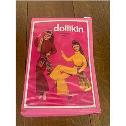 VINTAGE DOLLIKIN DOLL CASE AND BARBIE CLOTHES