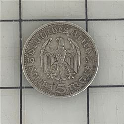 1936 5 GERMAN MARK SILVER COIN