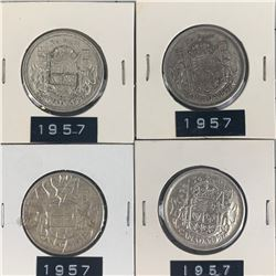 1957 LOT OF 4 CANADA SILVER 50 CENT PIECES