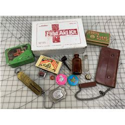 METAL FIRST AID KIT AND MISC CONTENTS