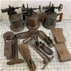OLD TORCHES AXE HEADS ETC W/ TOTE