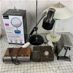 MISC LOT LAMPS VANITY MIRROR OLD TOASTER ETC