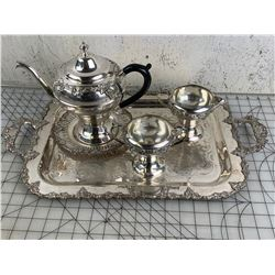 OLD ENGLISH REPRODUCTION SILVER PLATE TEA SET