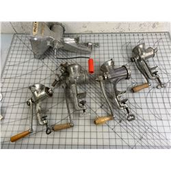 LOT OF MEAT GRINDERS AND NOODLE MACHINE