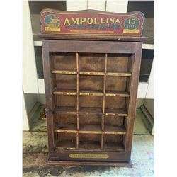 """ANTIQUE WOODEN AMPOLLINA DYES STORE DISPLAY SIGN 24x15x7"""""""