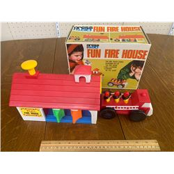 VINTAGE FUN FIRE HOUSE TOY WITH BOX MADE IN BRITISH CROWN COLONY HONG KONG
