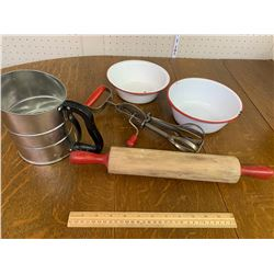 VINTAGE KITCHEN LOT ROLLING PIN SIFTER ETC