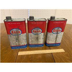 LOT OF 3 ESSO QUART CANS