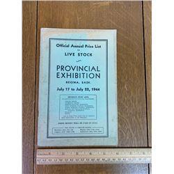 1944 REGINA SASK PROVINCIAL EXHIBITION PRIZE LIST