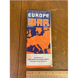 "VINTAGE ARTIC OIL SALES, LETHBRIDGE CALGARY EDMONTON ""A MAP OF EUROPE AT WAR"""