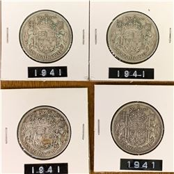1941 LOT OF 4 CANADA SILVER 50 CENT PIECES