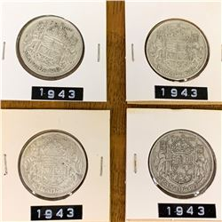 1943 LOT OF 4 CANADA SILVER 50 CENT PIECES